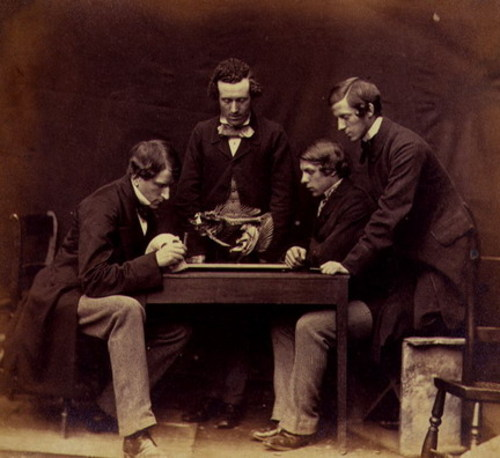 Dr. Rolleston and students examining skeleton, 1857