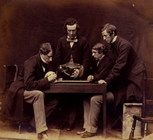 Dr. Rolleston and students examining skeleton, 1857.